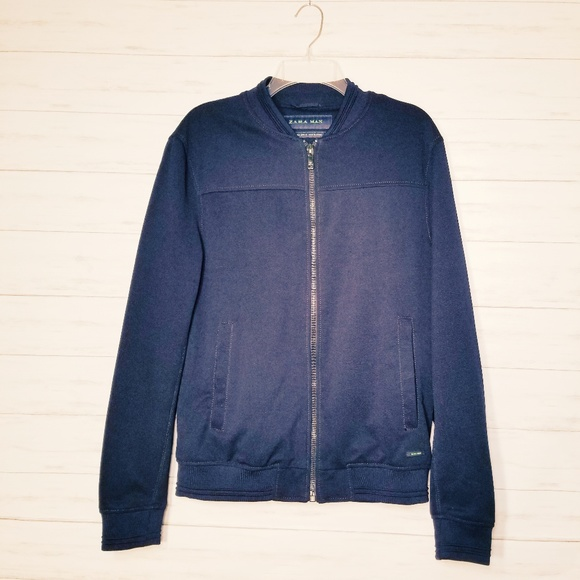 1266d9089 Zara Man Navy Bomber Jacket Men's Size Large